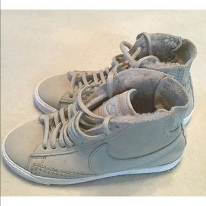 Nike Beige Suede Ankle Lace Sneakers